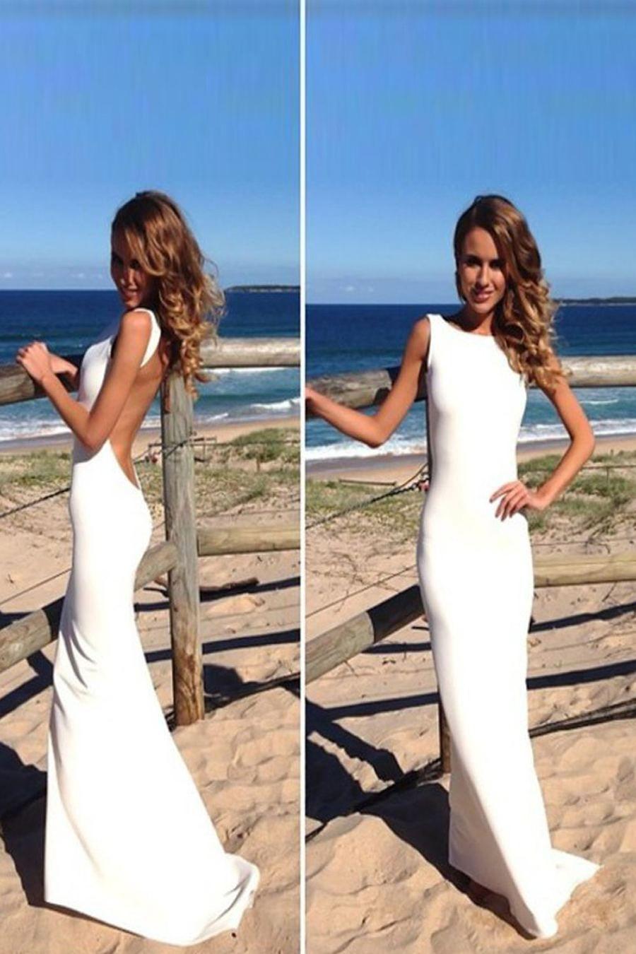 Ivory beach wedding dresses  Open Back Mermaid White Long Elegant Prom DressesBeach Wedding