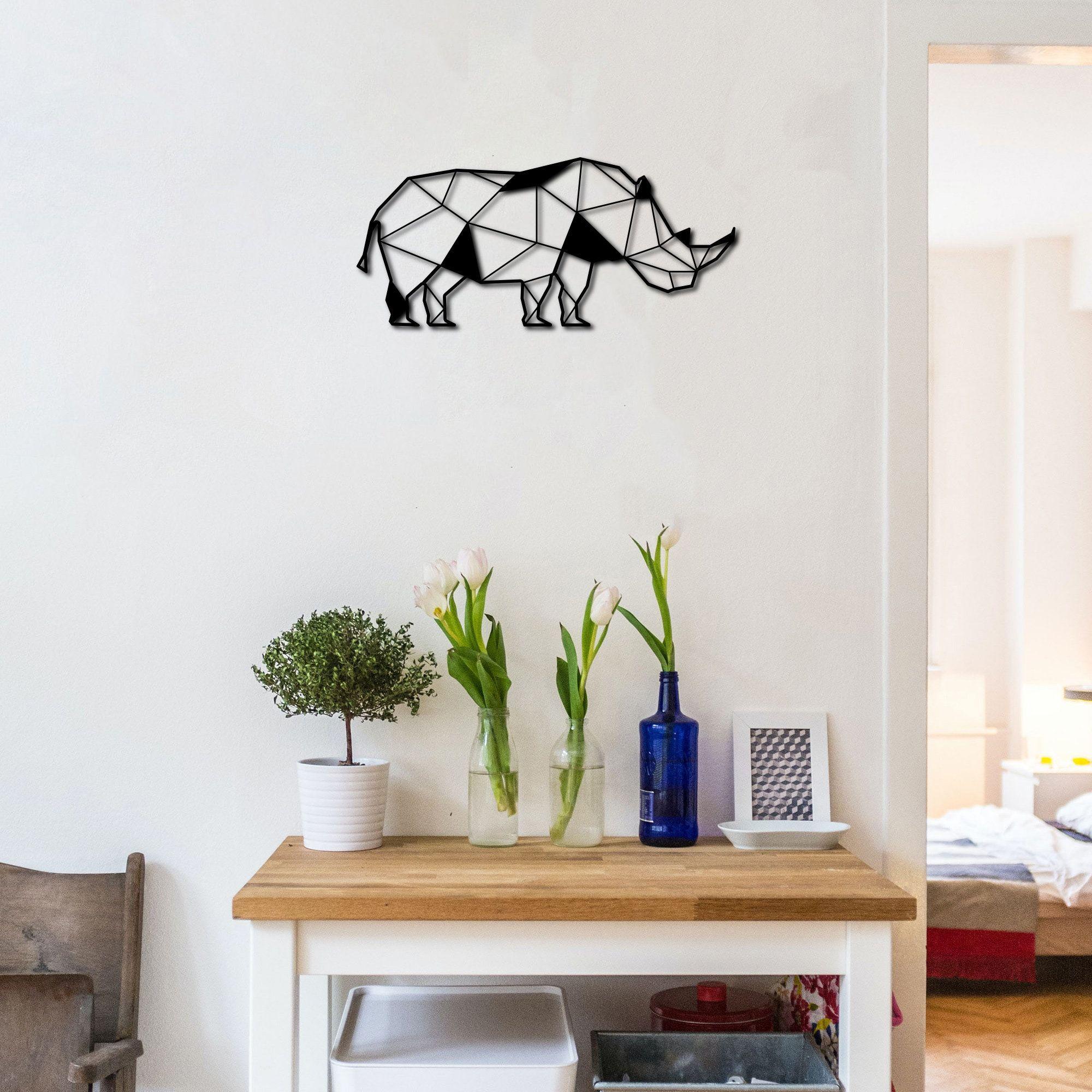 Metal Wall Art Rhino Interior Decoration Home Decor Wall Etsy Metal Wall Art Owl Wall Decor Wall Art Decor
