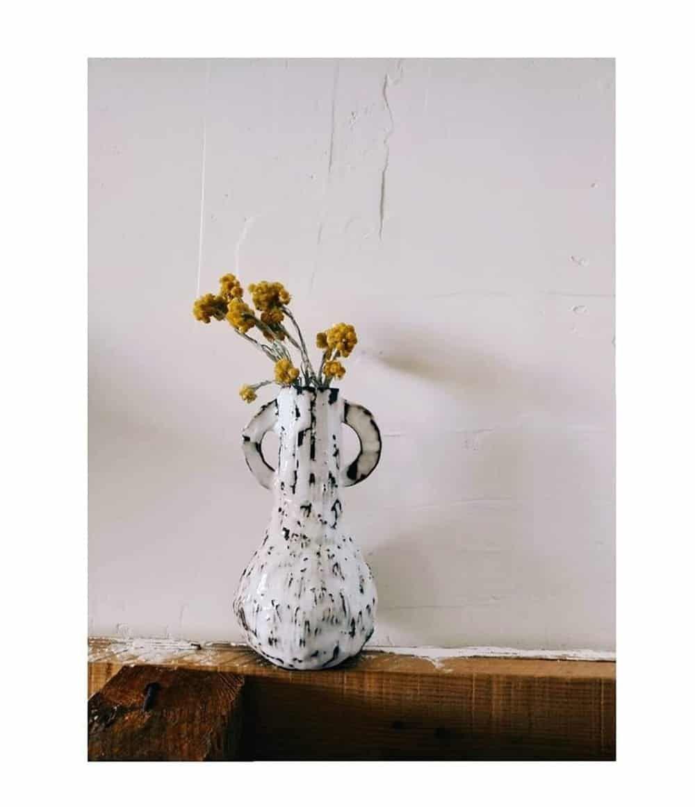 Asterisque Hap Vase  Vase, Stoneware Vase, White Enamel-2379