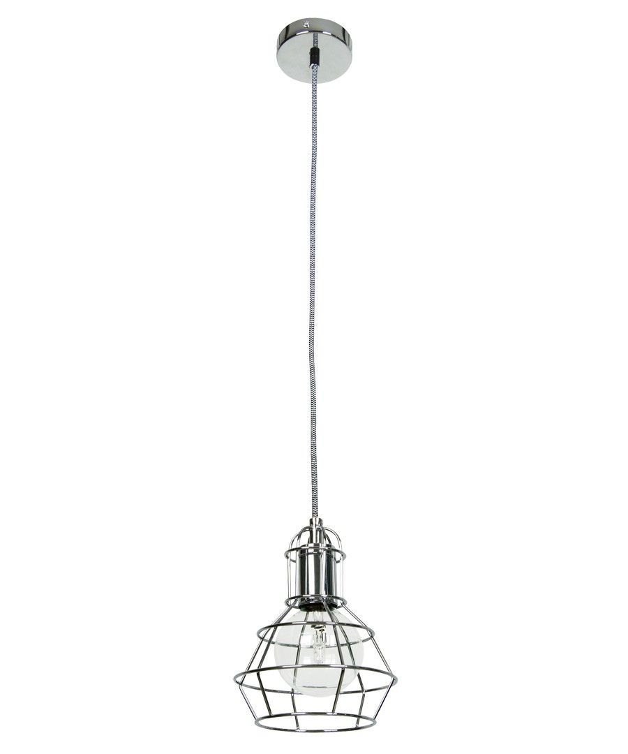 Mechanics 1 Light Cage Pendant in Chrome | Modern Pendants