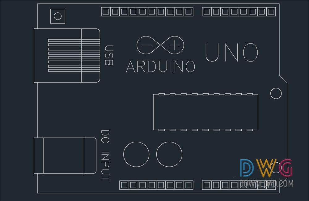 Arduino uno dwg drawing the electronic application card