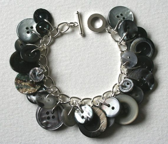 Gray Button Bracelet Rainy Days and Mondays by MrsGibson on Etsy, $22.50