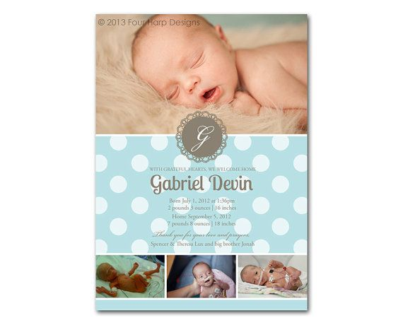 Preemie Birth Announcement Doily a printable photo card for – Preemie Birth Announcements