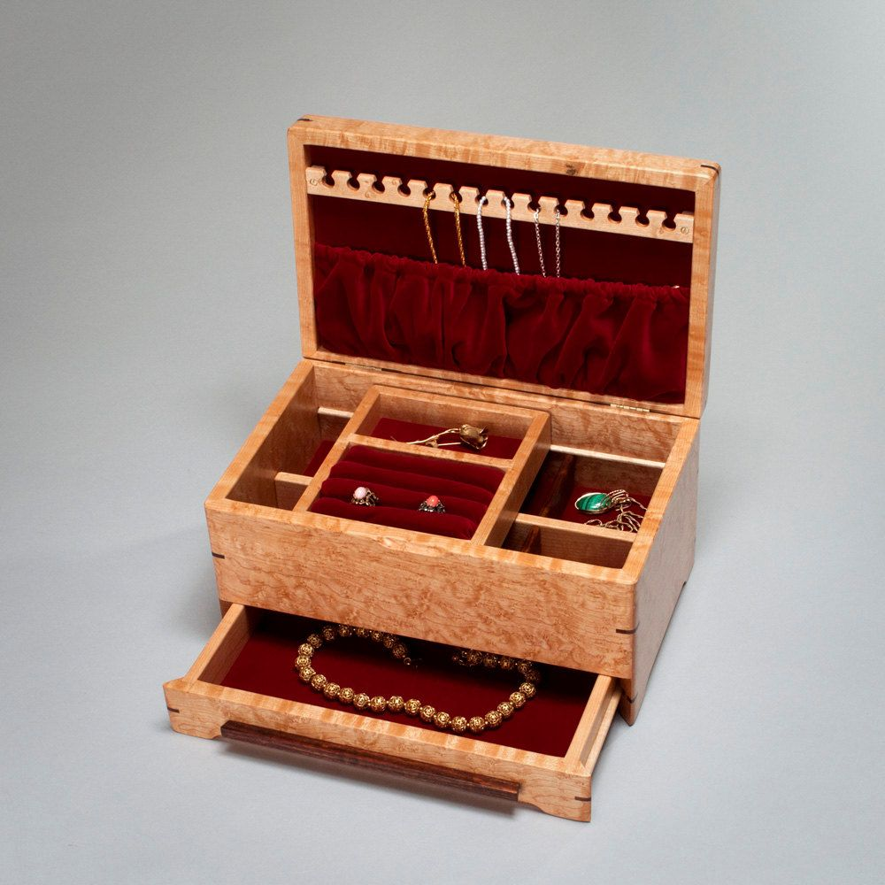 Jewelry Box with Necklace Hanger Drawer Velvet Lining Ring Holder