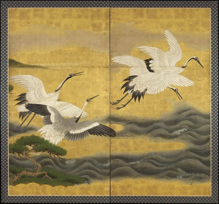 Two Panel Japanese screen. Cranes and river. - Gregg Baker ...
