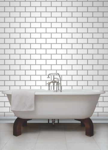Terrific White Grey Subway Tile Effect Tiling On A Roll Bathroom Download Free Architecture Designs Ogrambritishbridgeorg