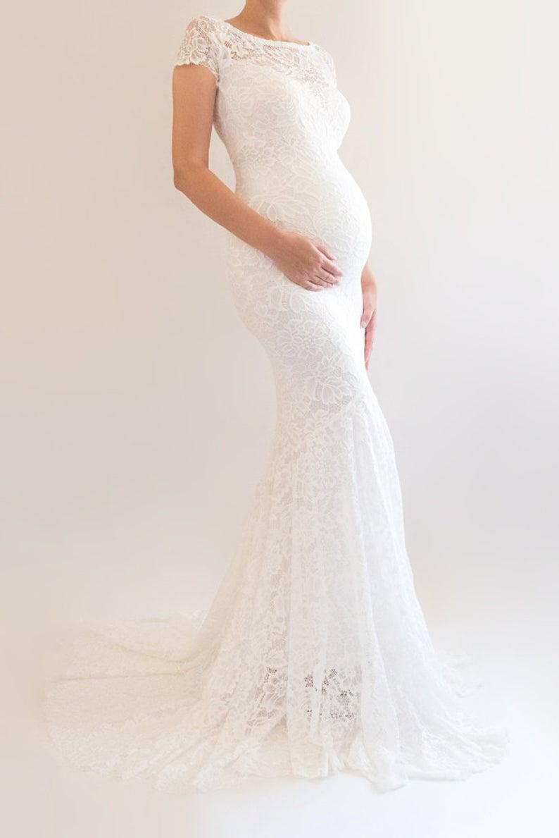 Briar Lace Maternity Wedding Dress Boho Bridal Gown Modest