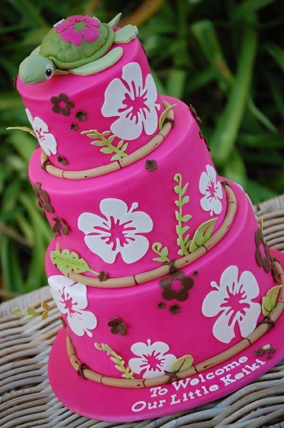 Pink Hibiscus Hawaiian Themed Cake
