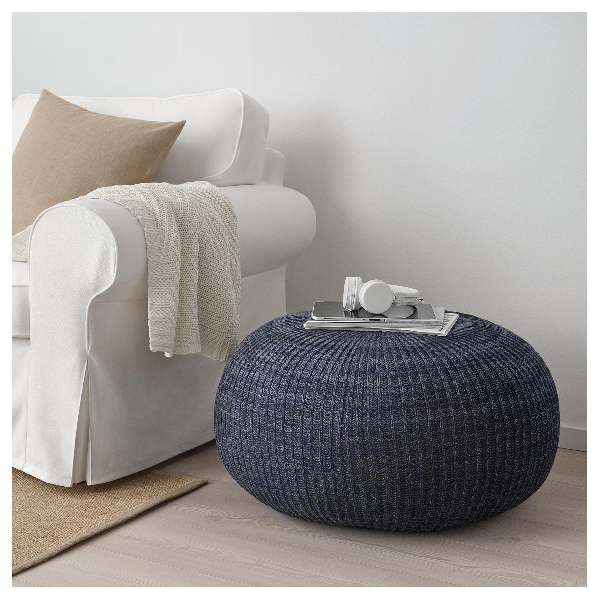 Enjoyable Sandared Pouffe Dark Blue Around The House Dining Room Machost Co Dining Chair Design Ideas Machostcouk