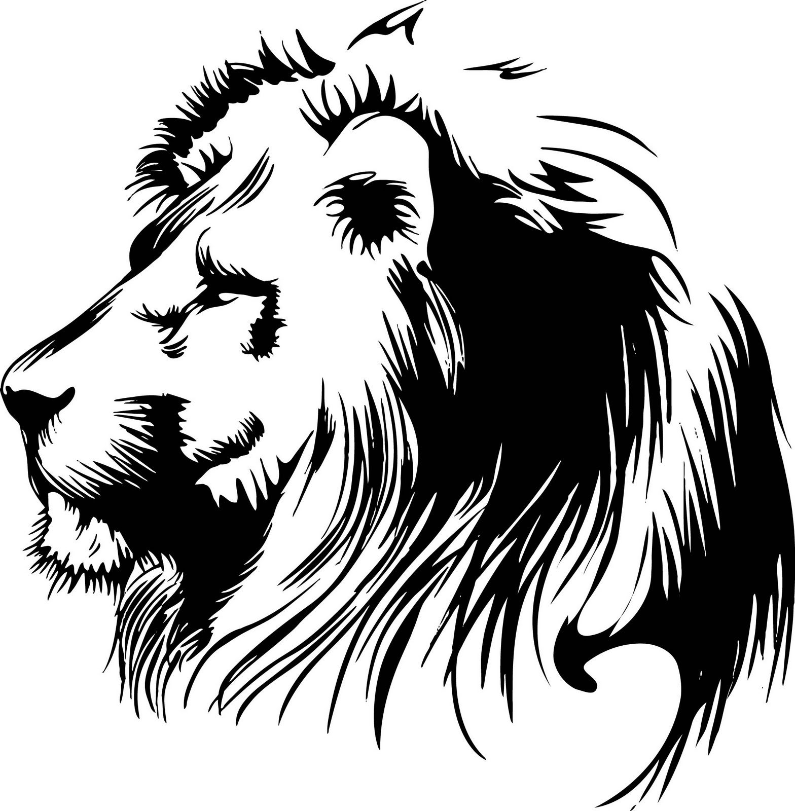 Tattoo Art Black And White: Lion Clipart, Lion Silhouette