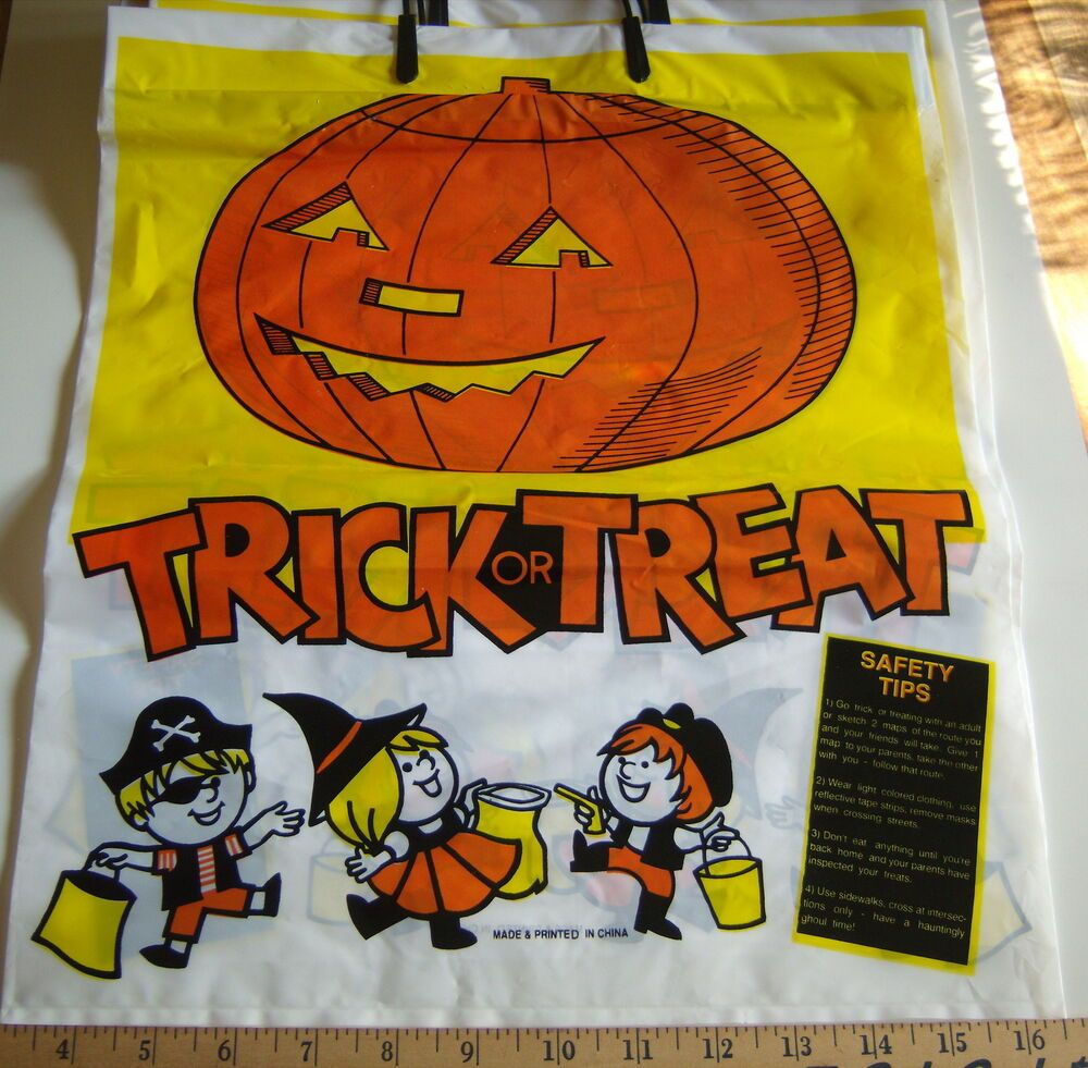Halloween Bags Trick Or Treat Plastic Bags W/Handles