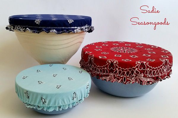Sarah from Sadie Seasongoods shows how you can make these fabric bowl covers out of vintage bandanas. The elastic around the edge fits them snug around a bowl. They're easy to make and they'll he...