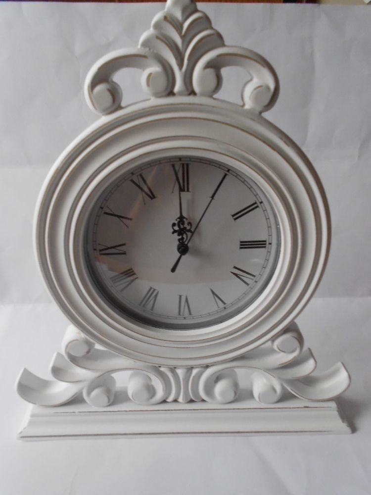 Stunning Large White Shabby Chic Mantel Clock Living Room Accessories Lp21732 Shabby Chic Mantel White Shabby Chic Mantel Clock