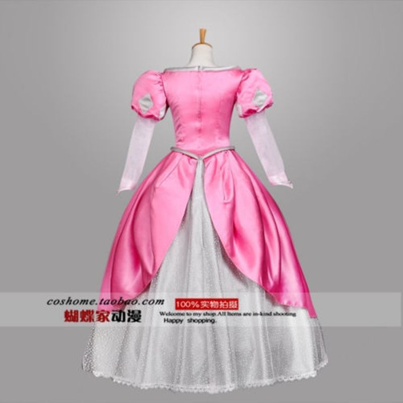 Newest Adult Princess Mermaid princess Ariel Pink Made Dress Cosplay Costume