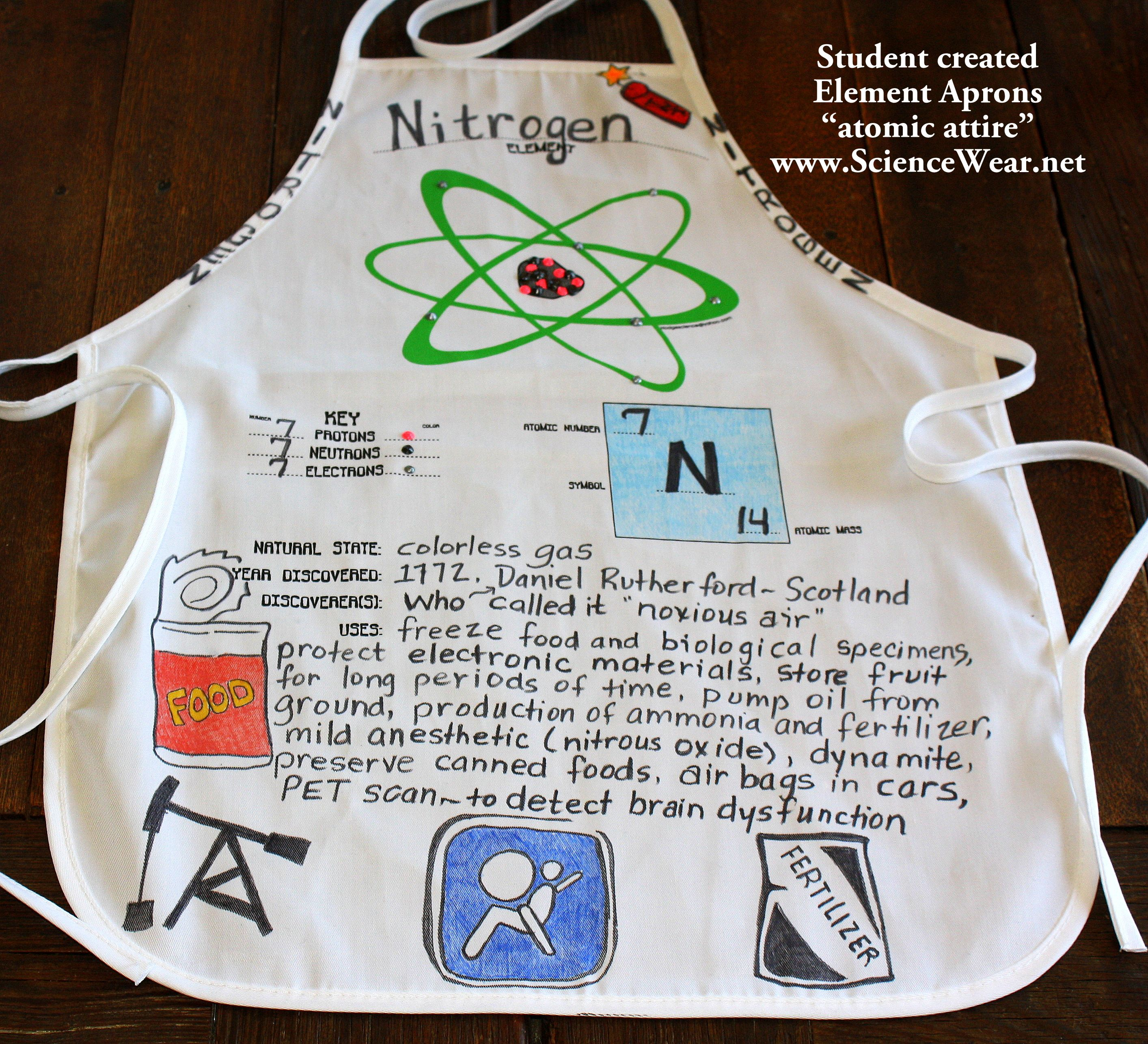 Activity based science project element apron or shirt for Adopt an element project ideas