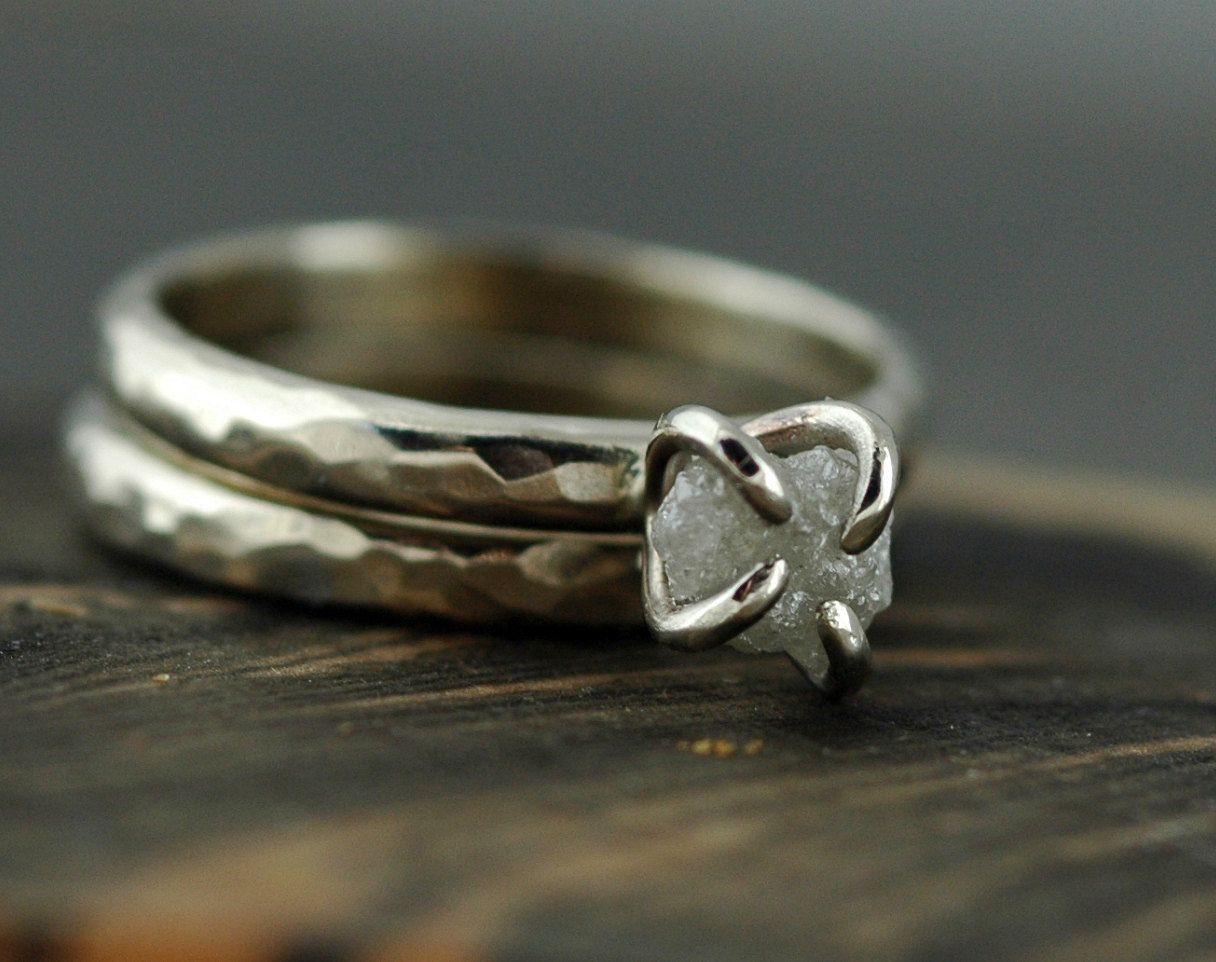 Conflict Free Rough Large Diamond Engagement Ring and