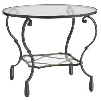 Chasca Glass Top Brown Round End Table Art Deco Lr Table End