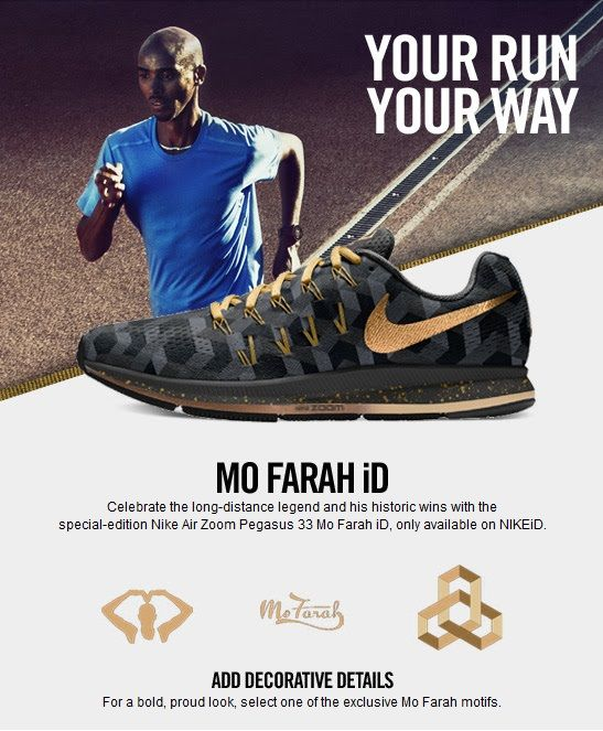 the latest 674bc ba928 NikeiD Air Zoom Pegasus 33 Mo Farah