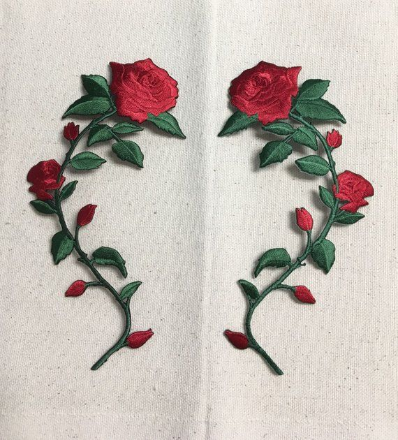 bc16bbae3393b9 Large - Red Rose - Open Petals on Long Stem - Flowers - Facing LEFT or  RIGHT - Iron on Applique - Em