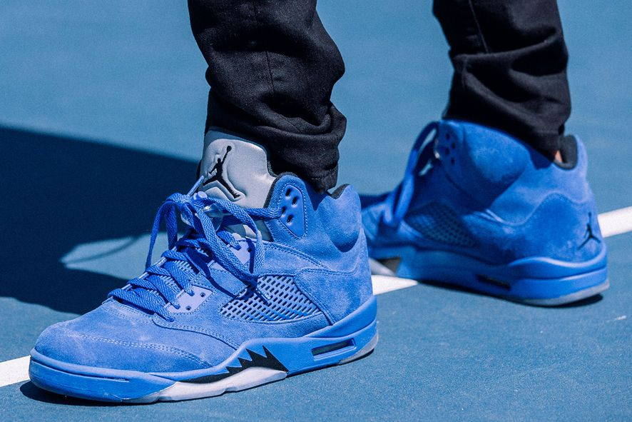 53a4b488076e20 Nike Air Jordan 5 Retro (136027-401) Flight Suit Blue Suede USD 165 HKD  1290 Pre Order and Release on 30Sep  solecollector  dailysole  kicksonfire  ...