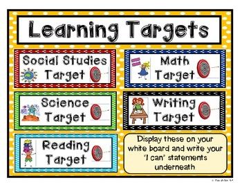5 Learning Target Signs For The Basic Subjects Reading Writing Math Science And Social Studies Display These Write Your