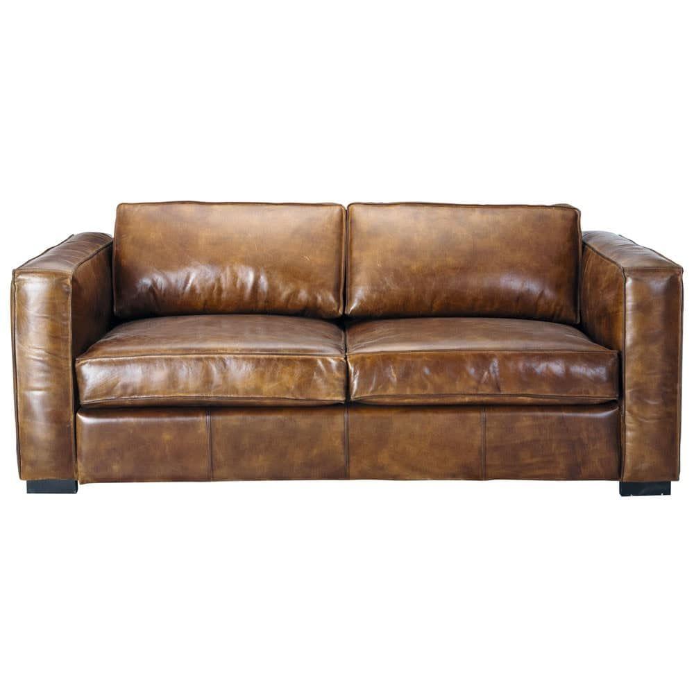 Ausziehbares 3 Sitzer Sofa Aus Leder Braun Antik Canape Cuir 3