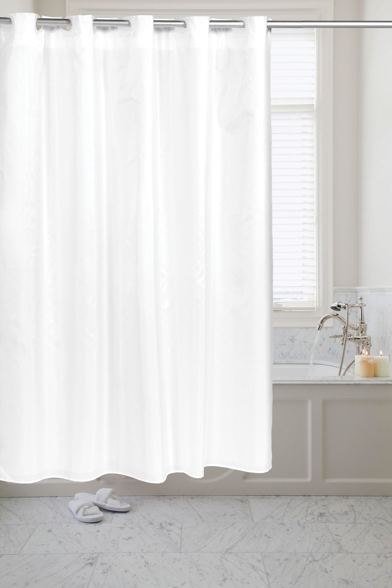 Pre hooked moire shower curtain bath products and products