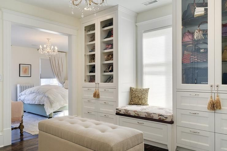 Truly Gorgeous Closet Boasts A Built In Window Seat Flanked By Glass Front Cabinets Filled With Designer Shoes And Bags St With Images Cool Rooms Master Closet Window Seat