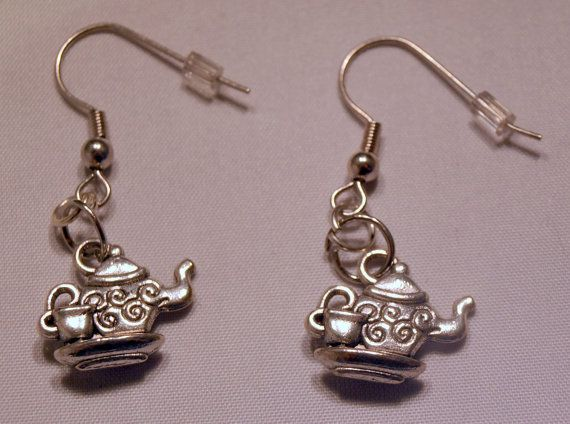 Dangle earrings Time for tea by theMrMoustacheShop on Etsy, $5.25