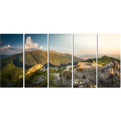 DesignArt Rocky Green Mountains Panorama 5 Piece Photographic Print on Wrapped Canvas Set