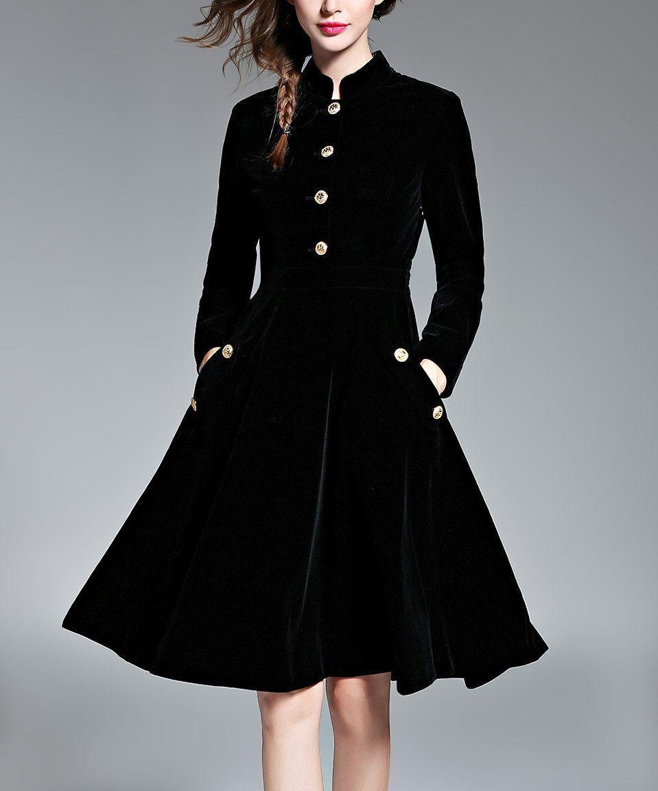 17aa64ea210 Another great find on  zulily! Coeur de Vague Black Button-Up Midi Dress by Coeur  de Vague  zulilyfinds