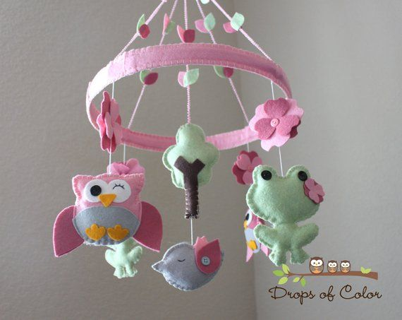Baby Crib Mobile Owl Frog