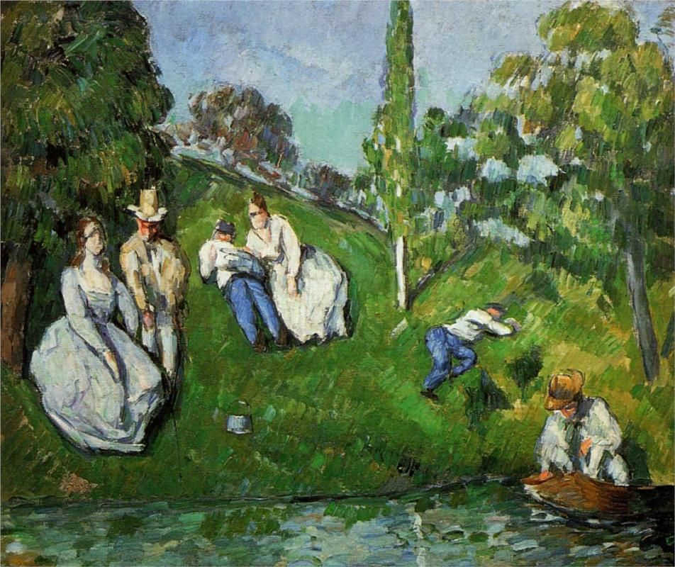 Couples relaxing by a pond, 1875 / Paul Cezanne  #cezanne #paintings #art