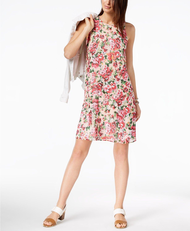 0e51fe59a8d Tommy Hilfiger Floral-Print Chiffon Shift Dress Women - Dresses - Macy s