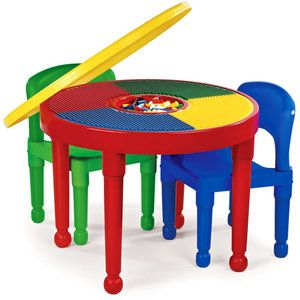 Tot Tutors Kids 2-in-1 Plastic Building Blocks-Compatible Activity Table and 2 Chairs Set Primary Colors Square