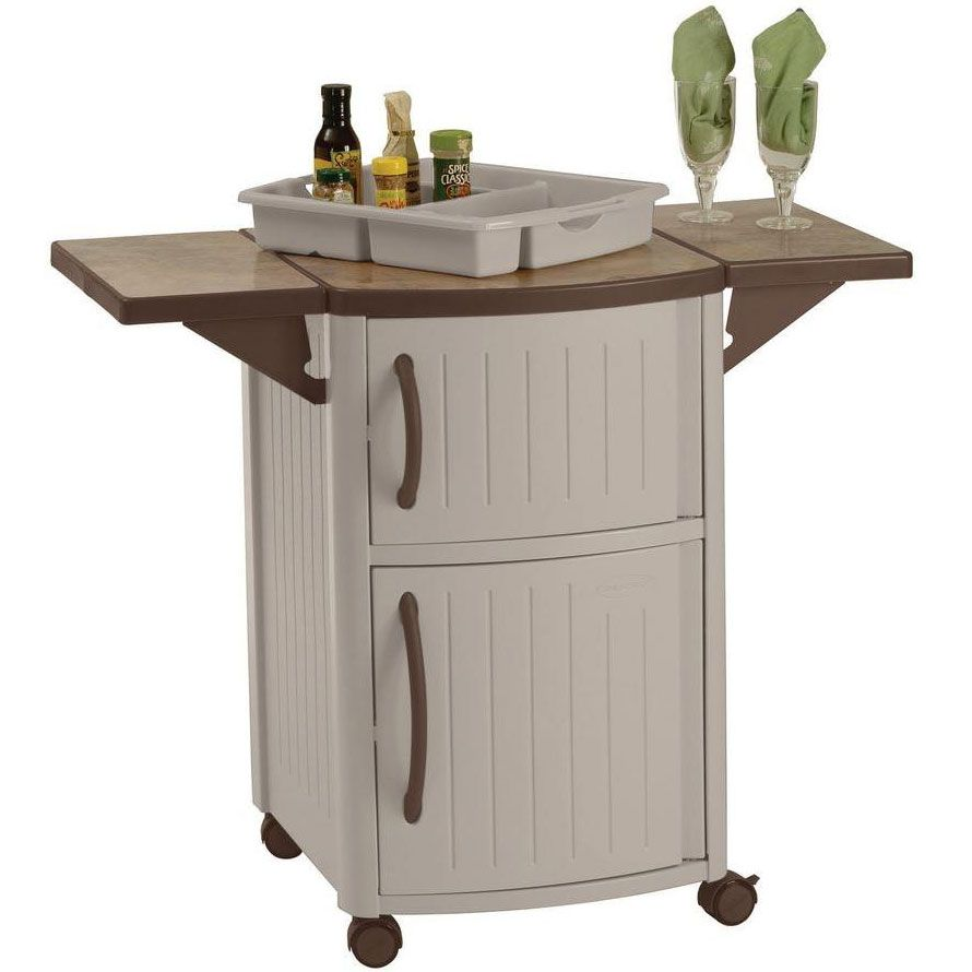 Mobile Serving Station Patio Cabinet Has Wheels And Cabinet Shelves