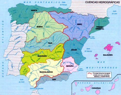 Mapa Hidrografico De España Mudo.Cuencas Hidrograficas En Espana Hidrogramas De Espana