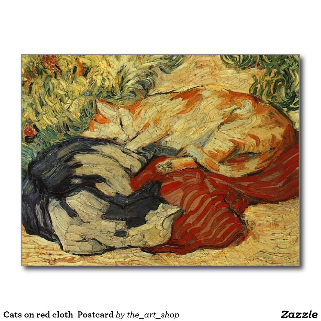 Cats on red cloth  Postcard
