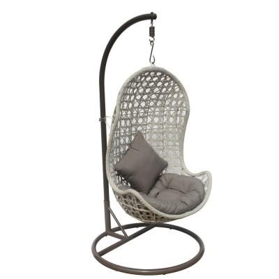 JLIP, White Wash Rattan Patio Swing Chair With Stand And Tan Cushion, At  The Home Depot   Mobile