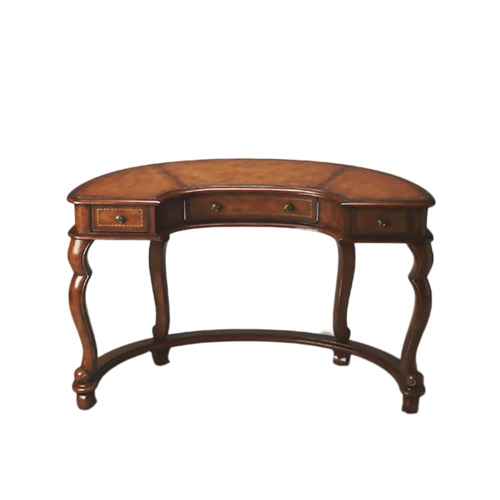 Traditional Demilune Wooden Desk With 3 Drawers In Heritage Finish Medium Brown Leather Desk Curved Desk Solid Wood Writing Desk