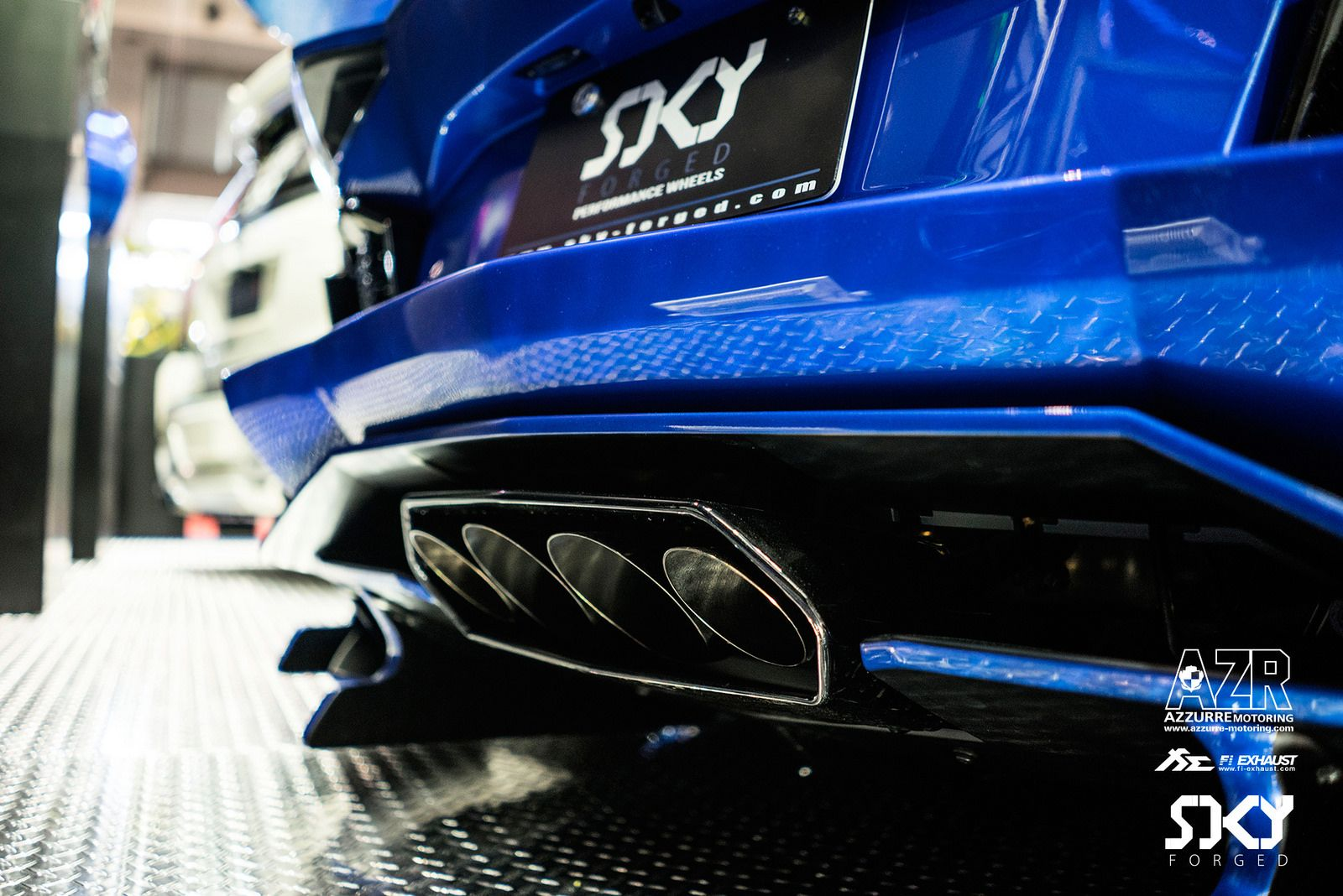 navy blue lamborghini aventador lp700 with fi exhaust in tokyo auto rh pinterest com