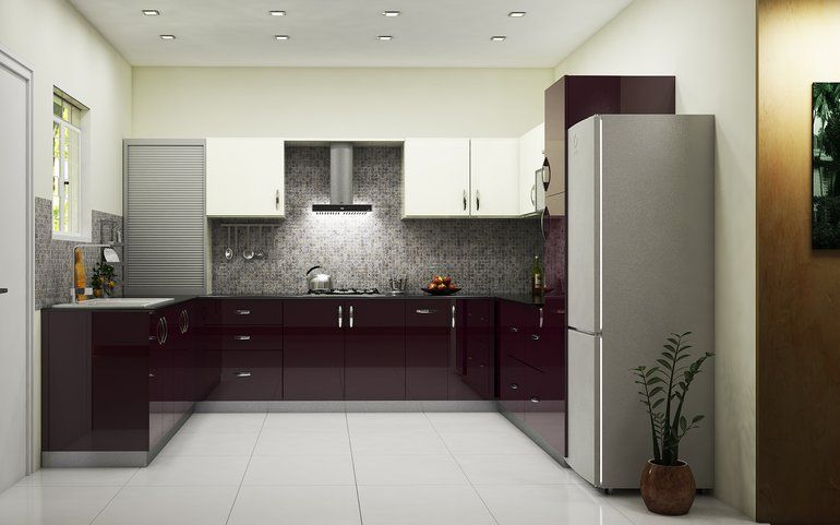 Buy condor minimalist u shaped kitchen online best price for Kitchen cabinets india