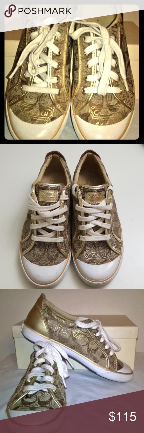 eb6ad59a0ec Coach Barrett Graffiti Tennis Shoes Gold Brown White    Some Scuffs    Worn  Once Coach Shoes Sneakers