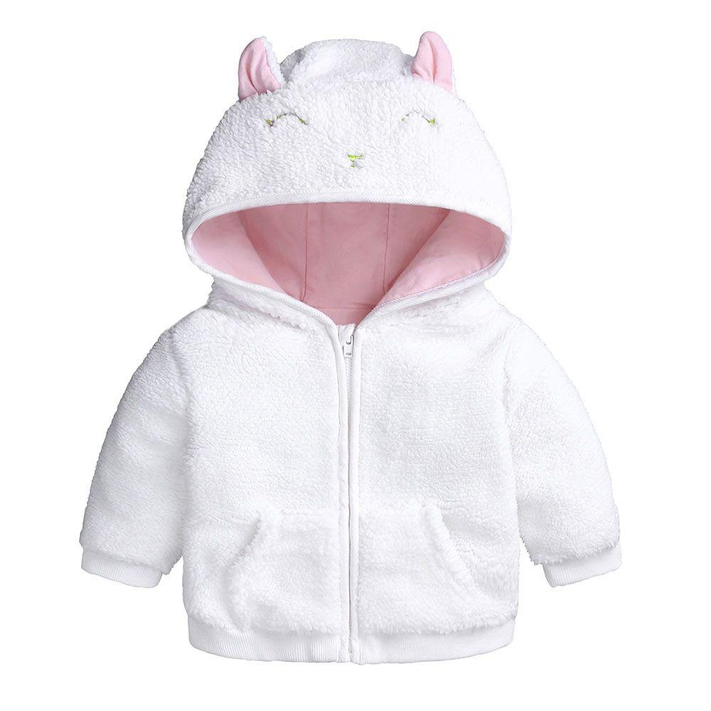Newborn Infant Baby Boys Girls Cartoon Fleece Hooded Jacket Coat with Ears Warm Outwear Coat Zipper Up Green