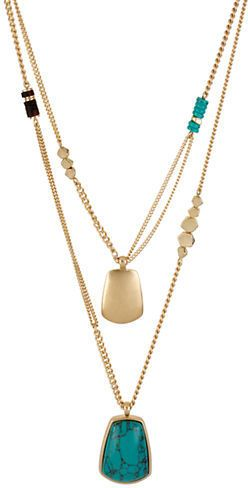 KENNETH COLE NEW YORK Semi-Precious Turquoise & Gold-Tone Duo Pendant Necklace