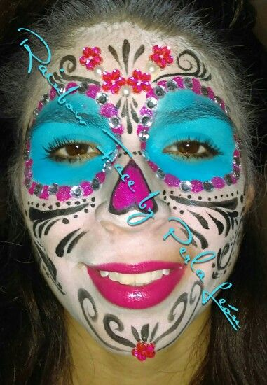 maquillaje catrina azul