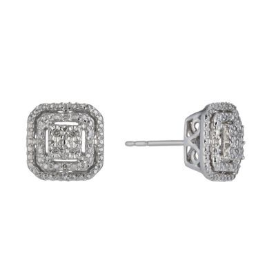 Sterling Silver Diamond Square Stud Earrings H Samuel The Jeweller