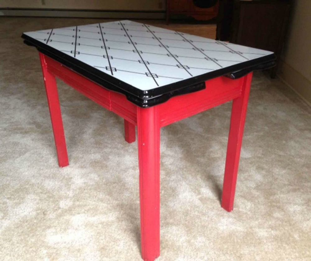 Vintage mid century expandable enamel top retro kitchen table original