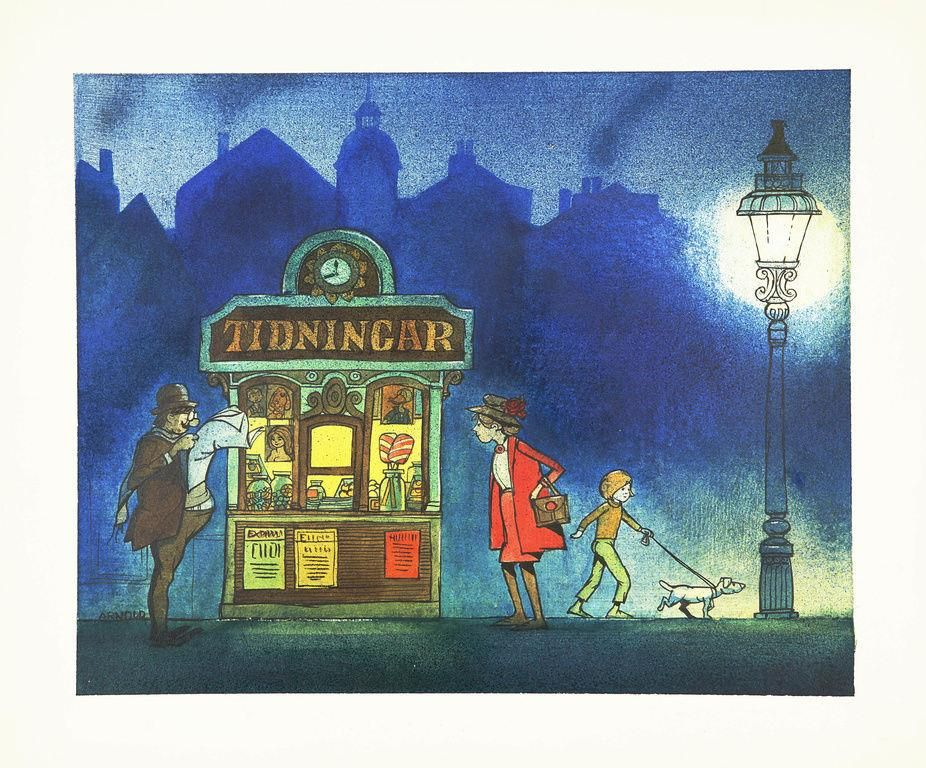 Hans Arnold Tidningsstall I Afton Pa Tradera Com Ovrigt Maleri Illustration Konst