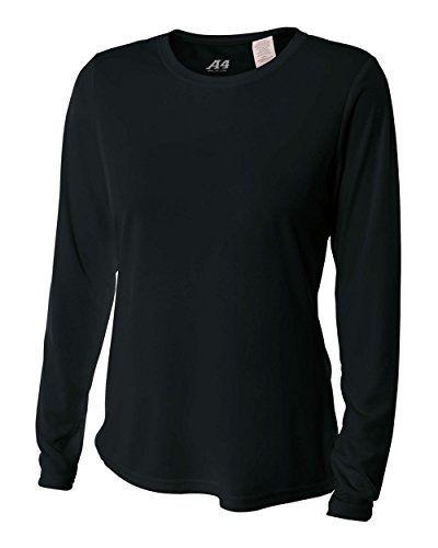 A4 Women S Cooling Performance Crew Long Sleeve T Shirt Black